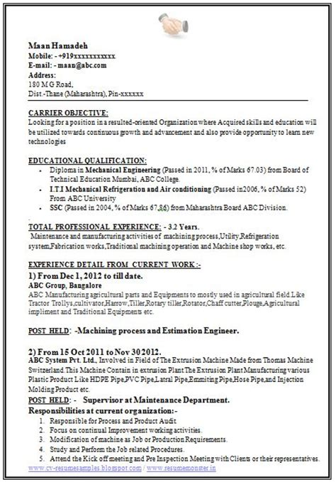Resume Format For Freshers Mechanical Engineers Word Free by Resume Sles For Freshers Mechanical Engineers Free