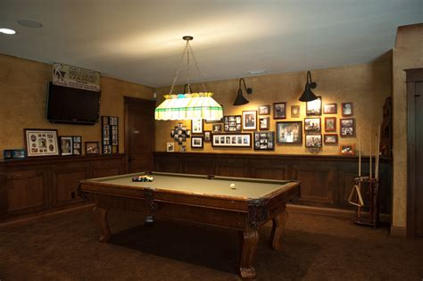 cool pool table lights basement traditional