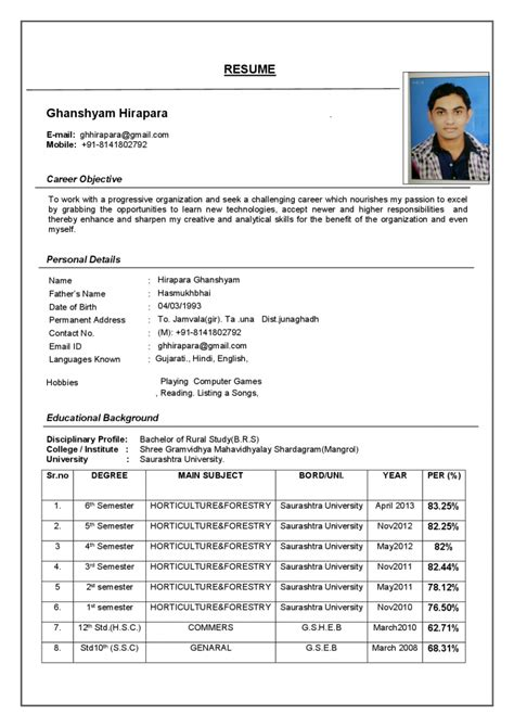 Be Resume Format by Resume Format Resume Cv