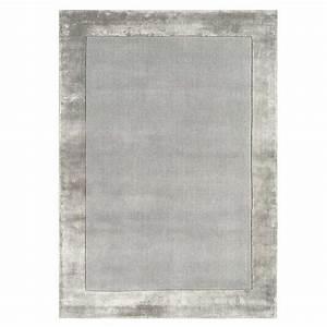 tapis de salon moderne gris en laine et viscose With tapis laine moderne