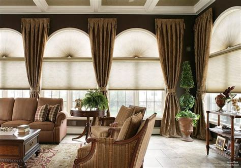 window treatments  large windows window treatments  arched windows  large living room