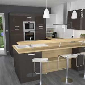 Plan De Travail En Chene : cuisine taupe en u avec bar sur lev plan de travail ~ Premium-room.com Idées de Décoration