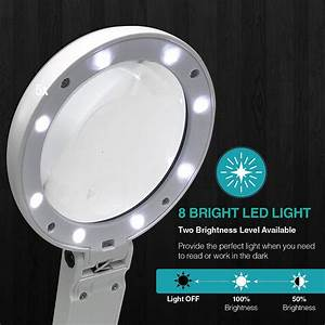 8 Led Lights  Handsfree Magnifier  5x 11x  Dual
