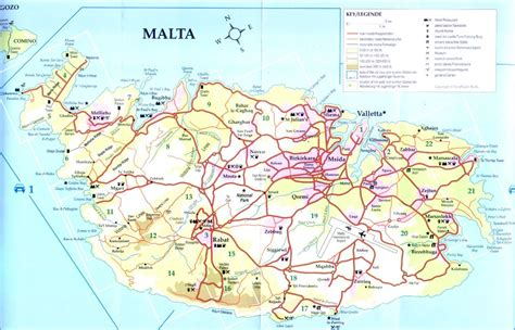 detailed road map   maltese islands including city