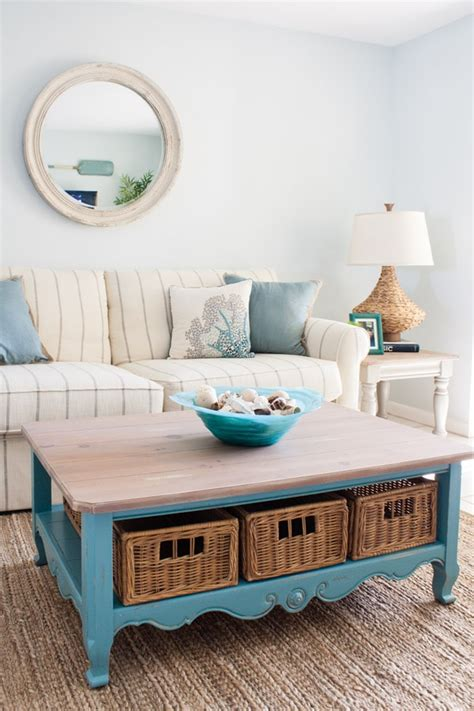 This table decor functions as a coffee station. Beach Condo Living Room Decor - Before and Afters - The Lilypad Cottage
