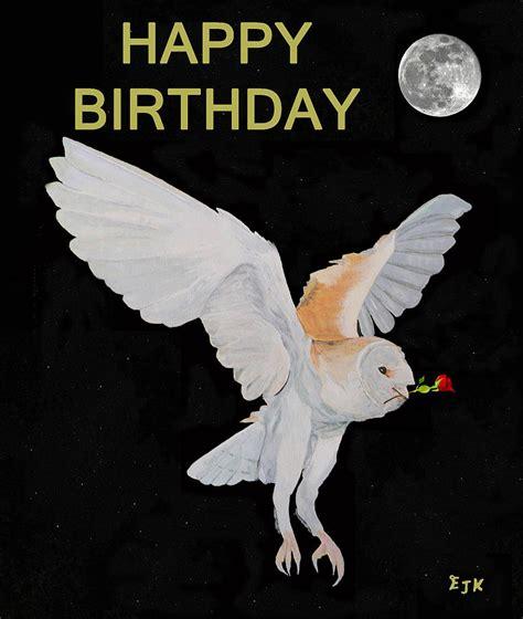 Happy Birthday Owl Images Barn Owl Happy Birthday Mixed Media By Eric Kempson
