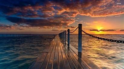 Sunset Landscape Wallpapers Nature Beach Pier Desktop