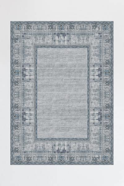 vintage daisy bordered blue rug   home grey rugs