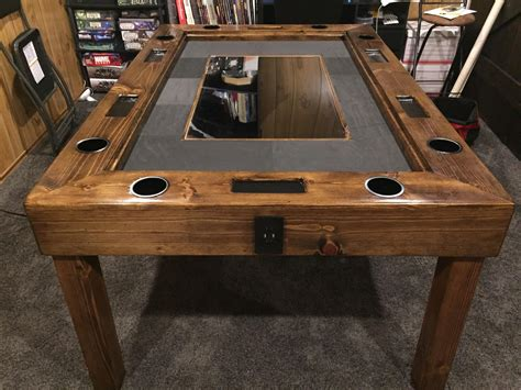 In our technological world, board games around a coffee table is a great option. Gaming table with monitor for digital maps http://ift.tt/2D6UQP5   Gaming table diy, Table games ...