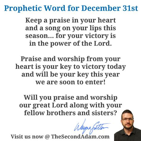 December 312015 Daily Prophetic Word  The Second Adam