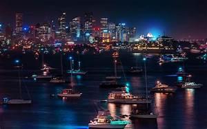 Skyline Cityscape Night Lights Hdr Harbor Bay Water