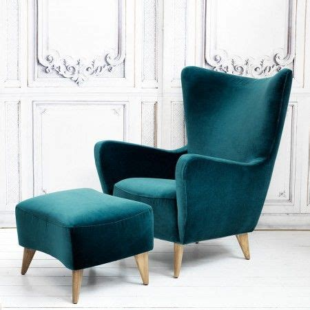 Bedroom Chair And Footstool by Elsa Chair And Footstool In Turquoise Velvet View All