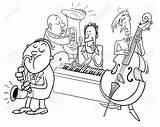 Jazz Cartoon Band Musicians Playing Colorare Coloring Concert Musicisti Spelend Musician Spelen Libro Clip Characters Illustrazione Tekens Muzikanten Boek Kleur sketch template