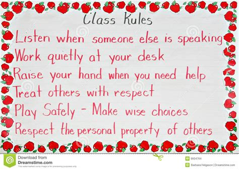 classroom rules stock images image