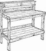 Coloring Pages Bench Work Garden sketch template
