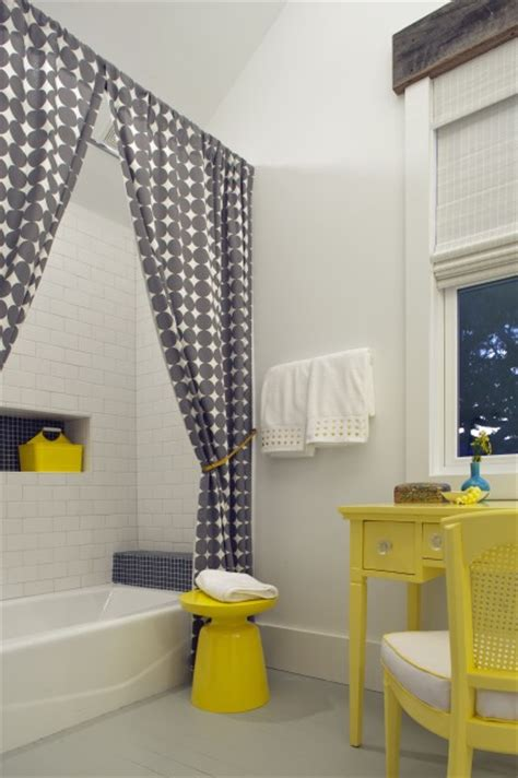 Yellow And Gray Bathroom Window Curtains by Subway Tile Shower Surround Contemporary Bathroom
