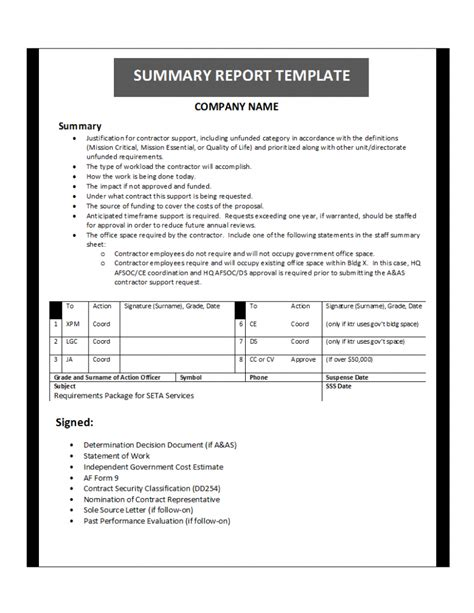 Report Template Summary Report Template
