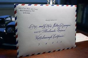 vintage airmail inspired wedding invitations With wedding invite envelope calligraphy