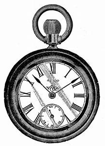 Vintage Clip Art - Antique Pocket Watch - The Graphics Fairy