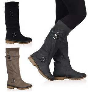 womens boots size 10 4y womens calf high fleece lined grip sole winter boots shoes size 5 10 ebay