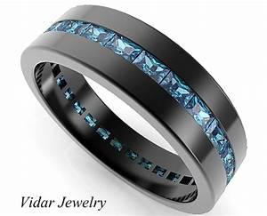 Black gold rings baguette blue diamond wedding band for for Mens wedding ring with blue diamonds