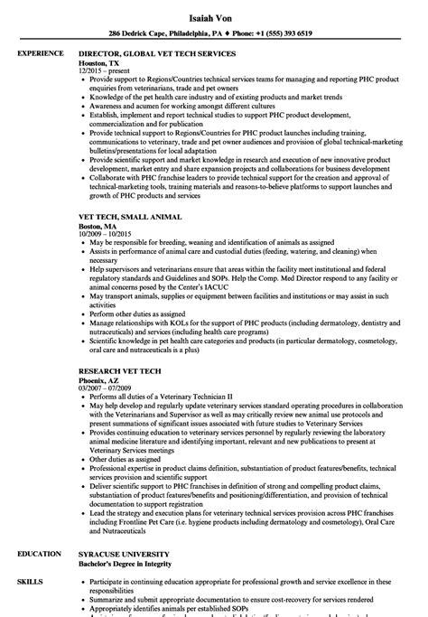vet tech resume samples velvet jobs