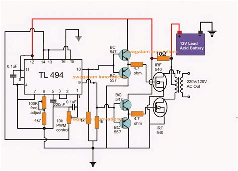 pwm inverter using ic tl494 circuit homemade circuit projects