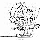 Sprinkler Cartoon Coloring Boy Wet Sprinklers Running Drawing Through Clipart Outline Outlined Pages Getdrawings Template sketch template