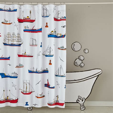 nautical shower curtain shower curtains and bath mats the land of nod