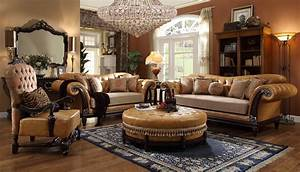 Homey design faux leather 6 pc traditional living room set for Traditional living room set