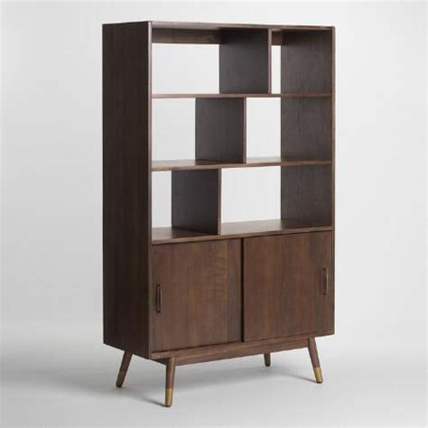 world market bookcase walnut brown wood randi mid century bookcase world market