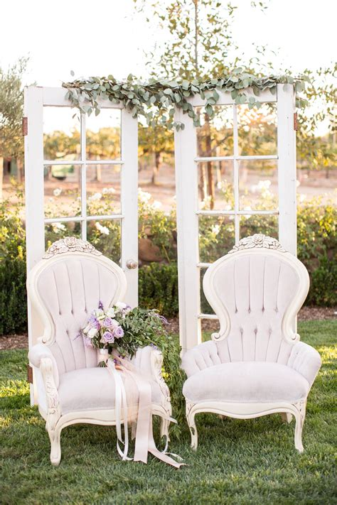 lavender vintage inspired french chairs birds