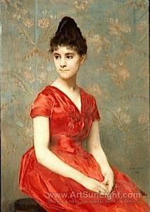 jeune fille en robe rouge sur fond de fleurs emile levy With fond de robe sculptant