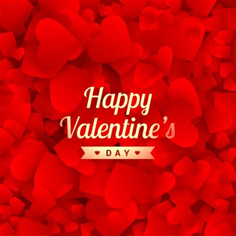 Happy valentines day card with red hearts | Free Vector
