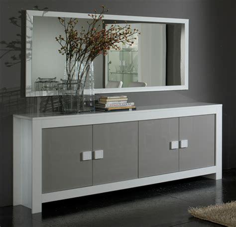 portes meubles de cuisine bahut 4 portes pisa laquée bicolore blanc gris blanc gris