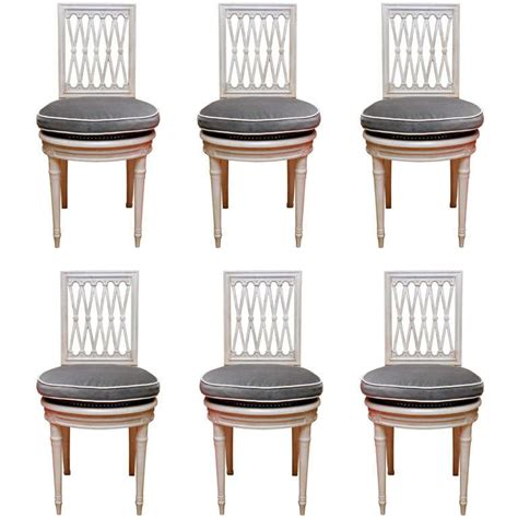 set of six 1950 s directoire style white dining chairs at