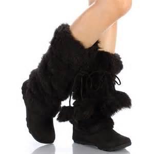 Black Faux Fur Mukluk Boots
