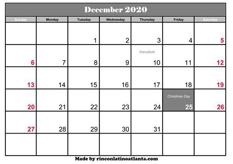 december  calendar  holidays calendar template