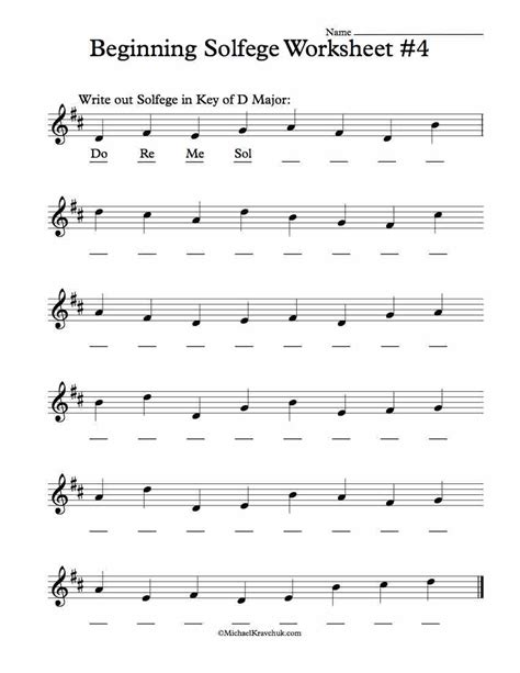 solfege worksheets  classroom instruction