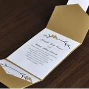 Card And Elegant Gold Pocket Wedding Invites With Free Response Card Blue Pocket Inexpensive Wedding Invitation EWPI017 As Low As Decorous Wedding Invitation VPN120 Cheap Peacock Wedding Pocket Inviations With Free Response Cards