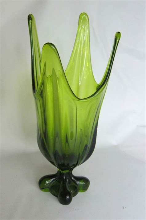 Viking Vase by Viking Blown Glass Pedestal Vase In Green 14 Inches