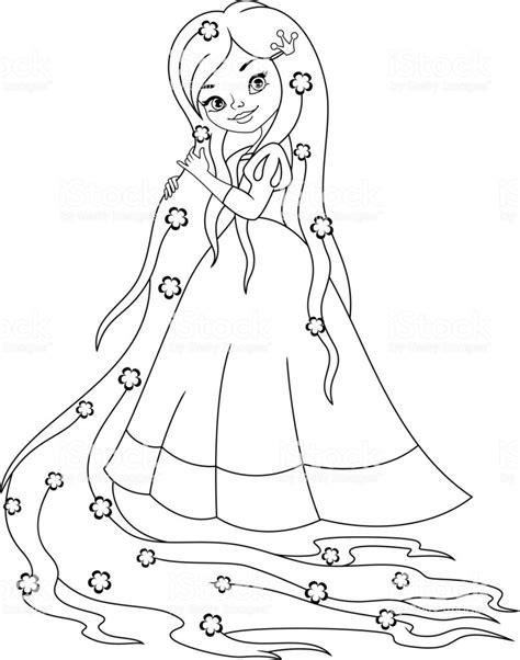 princess rapunzel coloring page stock vector art  images  cartoon  istock