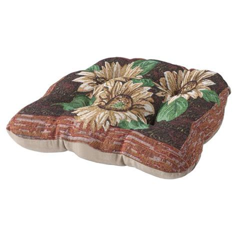 Reversible Sunflower Chair Pad   Seat Cushions   Seat Pads