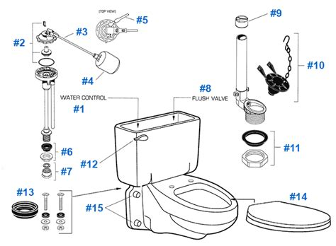 toilet parts american standard toilet repair parts for glenwall series toilets