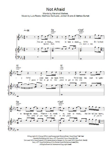 afraid sheet  eminem piano vocal guitar
