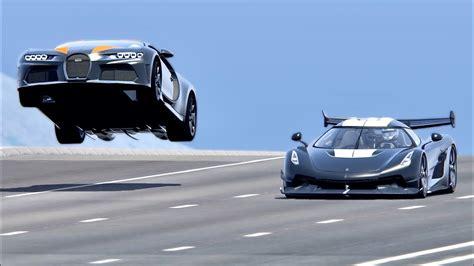 How fast is a bugatti? Bugatti Chiron Super Sport 300+ vs Koenigsegg Jesko with Jet Engine - Drag Race 20KM - YouTube