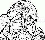 Alien Draw Creepy Newborn Predator Coloring Pages Vs Step Drawing Printable Aliens Coloringonly Lineart Categories sketch template