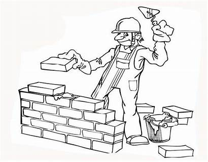 Coloring Construction Worker Build Wall Pages Clipart