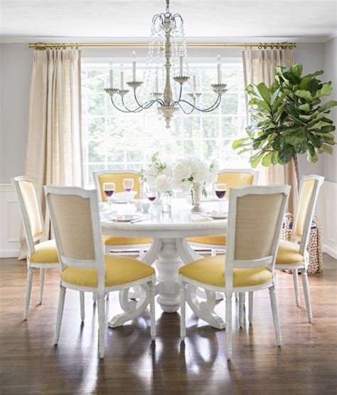 yellow  gray dining room transitional dining room