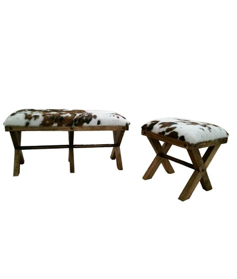Cowhide Bench cowhide bench foot stool
